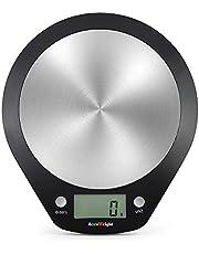 ACCUWEIGHT Báscula Cocina Digital, Balanza de Alimentos Multifuncional, Peso de Cocina, 5 kg / 11 LB MAX, Acero Inoxidable y ABS (Baterías Incluidas)