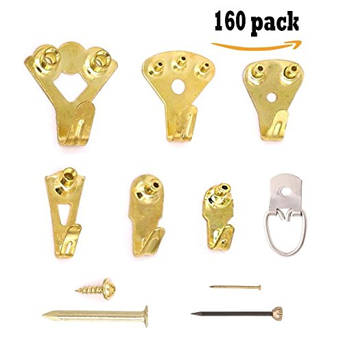 Picture Hangers - 160 Pcs Photo Frame Hooks by TOPtoper Heavy Duty Picture Hanging Kit with Pin Nails for Wall Mounting Supports 10-100 lbs