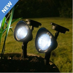 solar spotlight set 2 garden feature lights pots plants paths spikes dusk dawn. Black Bedroom Furniture Sets. Home Design Ideas