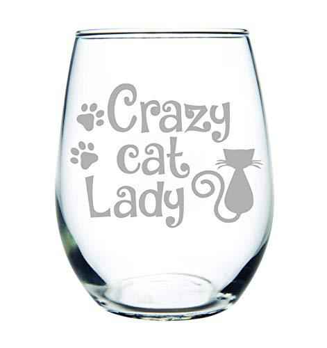 Crazy cat Lady stemless wine glass, 15 oz.