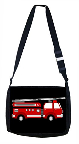 (Red Firetruck Lea Elliot TM Laptop Messenger Bag and Small Accessory Case SET)
