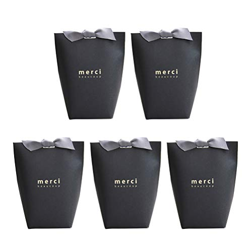 Toyvian 5pcs Gift Bags Candy Bags Present Bag Wrapping Bags with Ribbon for Party Birthday Wedding Favor - Black (Merci Beaucoup Letter)
