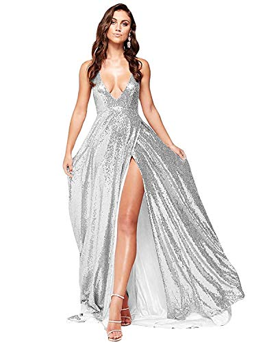 QueenBridal Women's Deep V Neck Sequins Prom Gown Backless Maxi Long Homecoming Dresses with Slit ()