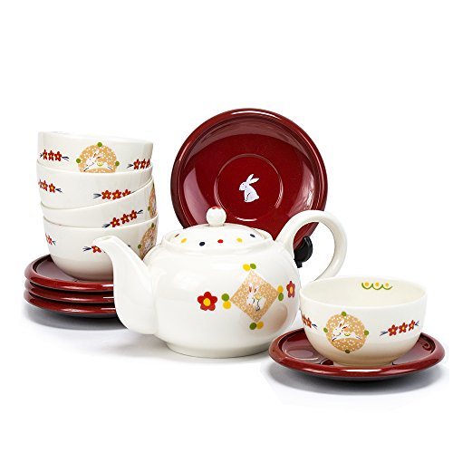 Porcelain Rabbit Teacup, Saucer, Teapot Set / Duo Dessert Cup Set - 5 serving set