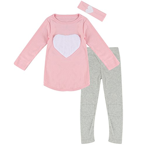 6 Pink Hearts (Toddler Baby Girls Heart Long Sleeve Shirt Leggings Pant & Headband Outfits Set (6T, Pink))