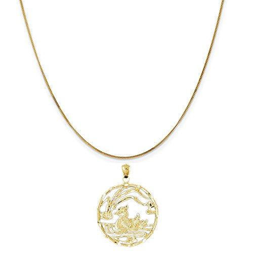 14k Yellow Gold Duck in Pond Pendant on a 14K Yellow Gold Curb Chain Necklace, 16'' by Eaton Creek Collection