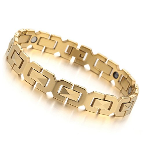 INBLUE Men's 3000g Magnetic Bead Tungsten Bracelet Link Wrist Gold Tone Rectangular