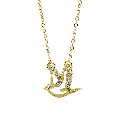 Zeta Phi Beta Inspired Crystal Dove Pendant with Necklace (Gold Toned)