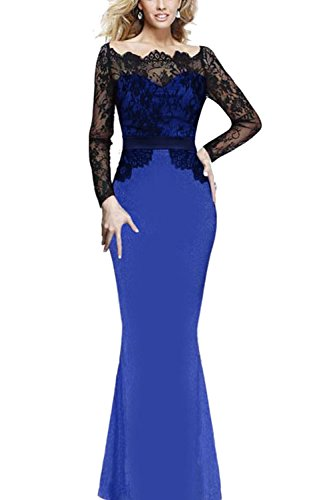 Frauen Sexy Lace Patchwork Swing Maxi Abendkleid Blue IdMzGdW