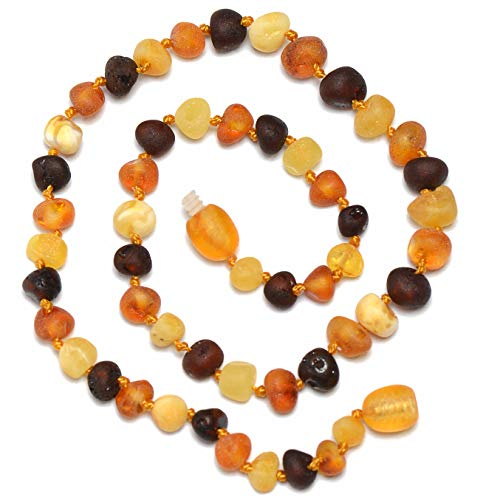 Baltic Amber Teething Necklace for Baby - Unisex - Natural Soothing, Teething Pain Relief with Raw Certified Amber - Safety Knotted - Plastic Screw Clasp - Highest Quality Kids Jewelry (Mixed -12)