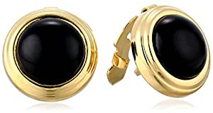1928 Jewelry Unisex Gold-Tone Black Round Button Cover