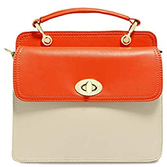 Dilaks 26061 Baguette Bag for Women - Synthetic, Orange and Cream