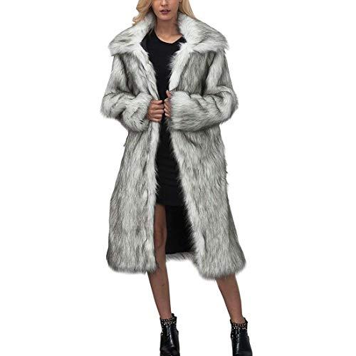 Bavero Lunghe Caldo Forti Pelliccia Invernali Pureed Eleganti Fashion Cappotto Giacca Taglie Alta Finta Vita Donna Hellgrau Maniche Relaxed Parka H8qOnqIT