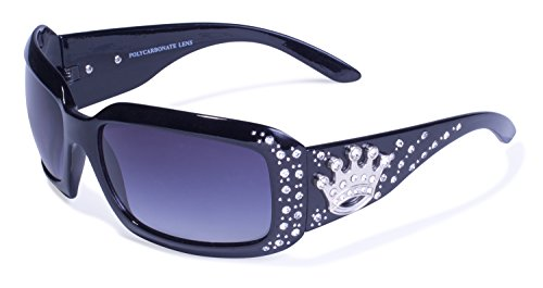 Global Vision Eyewear Rodeo Queen Sunglasses, Shiny Black Frame, Smoke Gradient (Gradient Lens Shiny Black Frame)