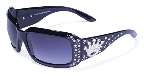 Global Vision Eyewear Rodeo Queen Sunglasses, Shiny Black Frame, Smoke Gradient Lense