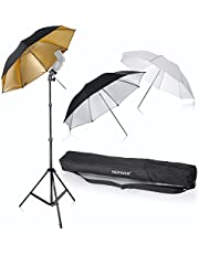 "Neewer® Flash Mount Three Umbrellas Kit 33""/84cm White Soft/Silver Reflective/Gold Reflective Umbrella for Canon 430EX II,580EX II,Nikon SB600 SB800,Yongnuo YN 560,YN 565,Neewer TT560,TT680"