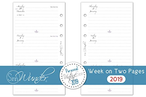SinnWunder 2019 Premium Quality Calendar Refill/Inserts 1 Week/2 Pages VintageSinn (Personal Size)