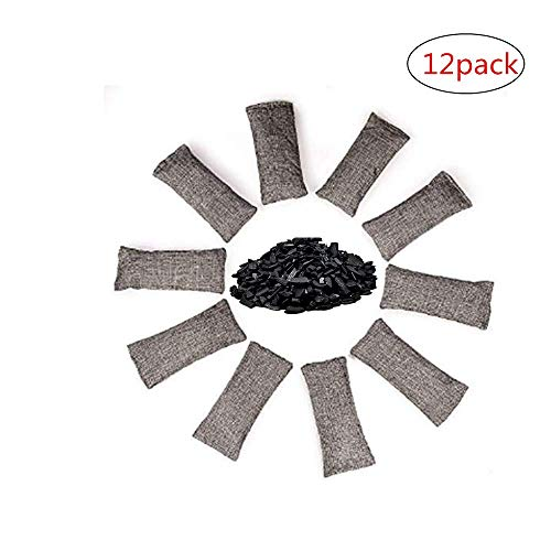 12 Packs 150g Each Mini Bamboo Charcoal Bags Natural Air Purifier, Shoe Deodorizer and Odor Eliminator