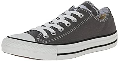 Converse Chuck Taylor All Star Seasonal Ox Men Round Toe Canvas Gray Sneakers (4 D(M), Charcoal)