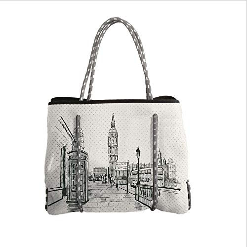 iPrint Neoprene Multipurpose Beach Bag Tote Bags,Modern,London City with Big Ben Monument Scene in Sketch Style British Famous Town Artwork,Grey Cream,Women Casual Handbag Tote Bags