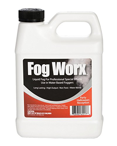 FogWorx Fog Juice - 1 Quart of Organic Odorless Fog Fluid (32 oz) - Medium Density, High Output, Long Lasting Fog Machine Fluid for 400 Watt to 1500 Watt Machines -