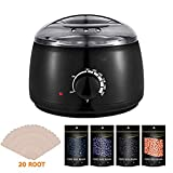 Wax Warmer Hair Removal Kit, Wellcows Electric Professional Wax Heater Hair Removal Kit with 4 Different Flavor Hard Wax Beans and 20 Wax Applicator Sticks, Suitable for All Wax Types