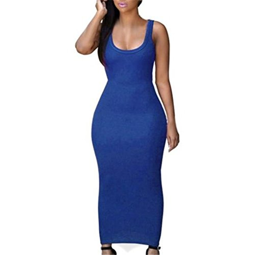 haoricu Women Dress, Women Summer Sexy Slim Casual Bodycon Cocktail Long Dress (M, Blue)