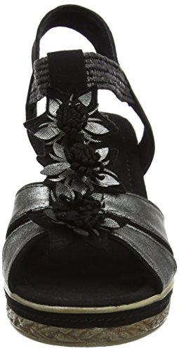 Marco Tozzi 28302, Sandalias con Cuña para Mujer Negro (Black Comb 098)