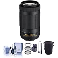 Nikon AF-P DX NIKKOR 70-300mm f/4.5-6.3G ED VR Lens - USA Warranty - Bundle with 58mm Filter Kit, Lens Pouch, Cleaning Kit, Cap Leash