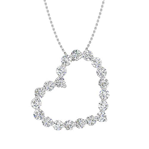 女人和钻石天生一对,怎么带都好看!精美心形钻石吊坠项链