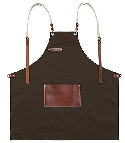 Premium Gift for woman and man Chef Works Handmade Apron Japanese Cross Back - Roco real cow leather Apron Brown by cozymomdeco