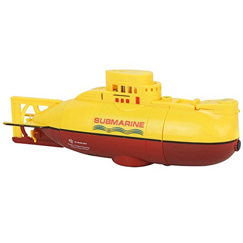 Submarine Toy, RC Ready to Run Mini Submarine Speedboat Model High Powered 3.7V Large Model RC Submarine Outdoor Toy with the Remote Control(2#,Yellow)