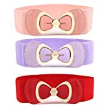 Womtop 3 Packs Women Waist Belts Ladies Metal Bow Clasp Buckle Stretchy Belt Faux Leather Elastic Waistband Dress Belt For Women (B(Pink+Purple+Red), Free)