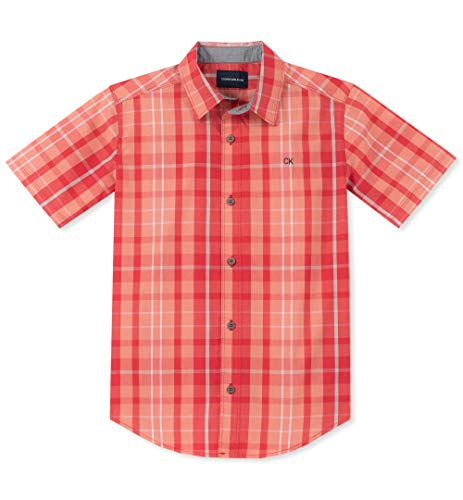 Calvin Klein Boys' Big Plaid Short Sleeve Shirt, Light Coral, X-Large (18/20)