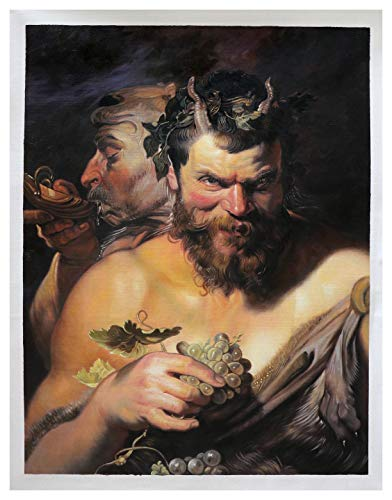 Two Satyrs - Sir Peter Paul Rubens hand-painted oil painting reproduction,bedroom sensual classic wall art decor,sexualized nudity painting