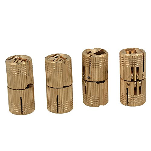 BQLZR 14mm Hidden Invisible Concealed Copper Hinge for DIY Wooden Door Pack of 4 ()