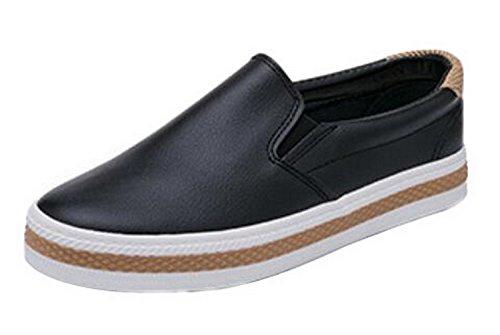 (New Women'S Fashion Flats Casual Comfortale Slip On Shoes Balck White Ladies Flat Platform Loafers)
