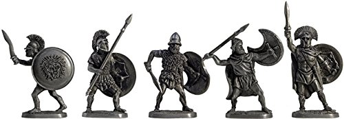 Set of 5 Ancient Greeks Tin Toy Soldiers Metal Sculpture Miniature Figure Collection 40 mm (scale 1/43) (40-08) (Miniature Tin)