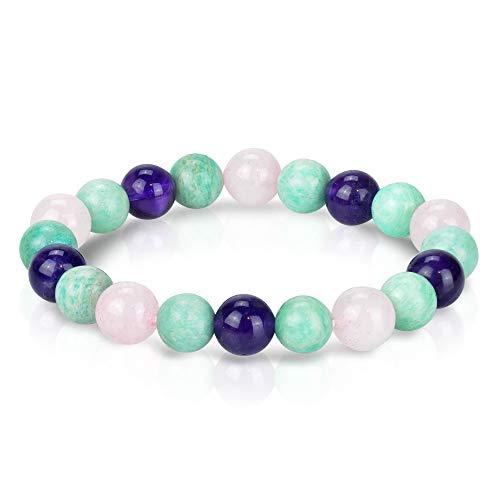 (Triple Stone Ultimate Wedding Bracelet - Romance and Love Bracelet - Amazonite - Rose Quartz - Amethyst - Wedding Crystals - Marriage & Relationships - Gemstone Beaded Stretch Bracelet (10mm))