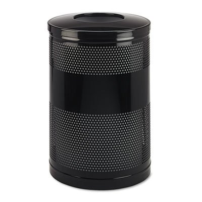 (Rubbermaid Commercial S55ETBK Classics Perforated Open Top Receptacle, Round, Steel, 51gal,)