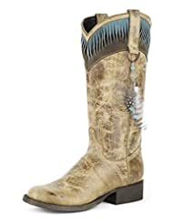 Stetson Western Boots Womens Feather 9.5 B Brown 12-021-7601-0565 BR