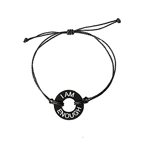 Life Token Custom Handmade Personalized Engraved Message I Am Enough Novelty Jewelry Gift Bracelet Bracelet for Both Men and Women (Black Token with Silver Engraving)