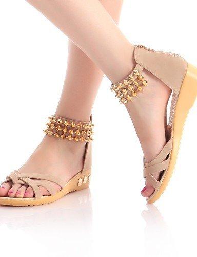 ShangYi Women's Shoes Fleece Flat Heel Comfort / Open Toe Sandals Dress / Casual Black / Blue / Red / Beige Black l6OBc3