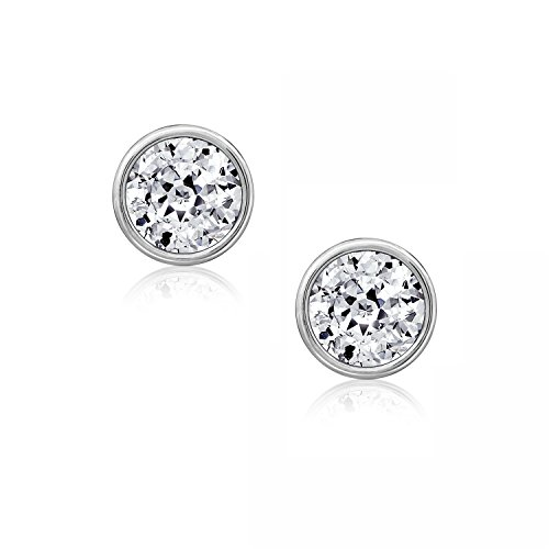 DIAMONBLISS Sterling Silver 3.00 cttw 100-Facet Cubic Zirconia (7mm) Bezel Set Stud Earrings