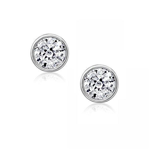 Sterling Crislu Bands Silver - DIAMONBLISS Sterling Silver 3.00 cttw 100-Facet Cubic Zirconia (7mm) Bezel Set Stud Earrings