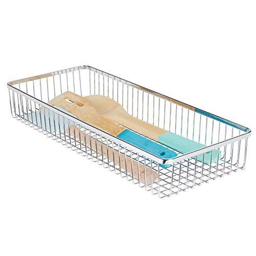 mDesign Metal Farmhouse Kitchen Cabinet Drawer Organizer Tray - Storage Basket for Cutlery, Serving Spoons, Cooking Utensils, Gadgets - 15