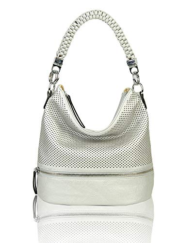 Strap Redfox women's handle Top braided Vintage Classic handbang Silver Designer Bag Tote rrEqnBxw
