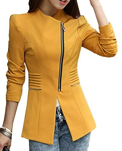 Camicia Casuali Business Con Eleganti Giacca Manica Da Autunno Fit Lunga Outerwear Ufficio Moda Blazer Slim Primaverile Cerniera Gelb Tailleur Donna dwP7qn6xd