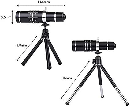 Huawei LG Black Xiaomi Galaxy YBLSMSH Universal 18X Zoom Telescope Telephoto Camera Lens with Tripod Mount /& Mobile Phone Clip HTC and Other Smart Phones for iPhone Q Camera Stand