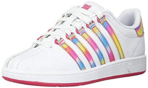 K-Swiss Unisex Classic VN Sneaker, White/Raspberry, 2 M US Little -